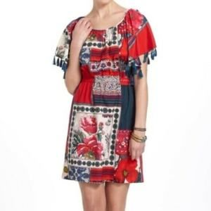 Anthropologie Red Persian Rose Patchwork Dress M